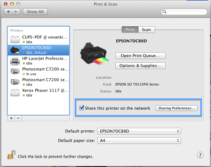 Share Printer on MAC